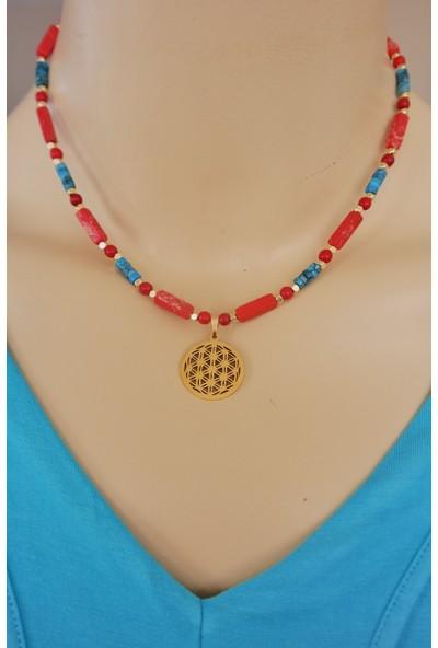 Dizayn Cam Kırmızı Mavi Varisit Doğaltaş Gold Yaşam Çiçeği Kolye