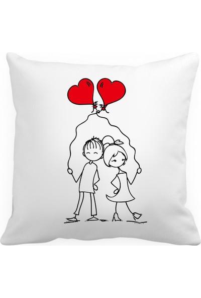 Aspa Yastık 2 Sevgili Baskılı Kare Saten Yastık