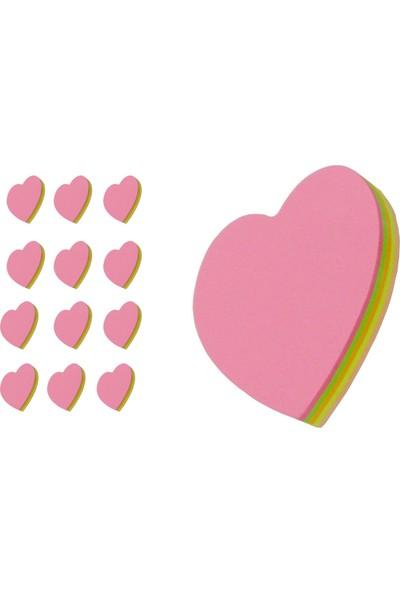 Yapışkanlı Not Kağıdı Fosforlu Kalpli 100 Yaprak 12 Adet