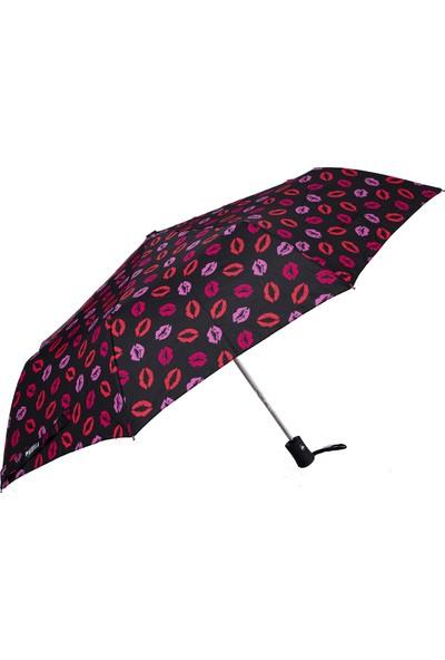 Biggbrella So005 Şemsiye Dudak Desenli Siyah