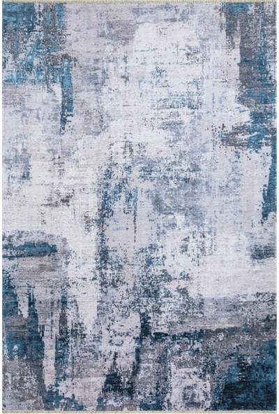 Metraj Halı Çam Halı Heybe H1403 Mavi Metraj Modern Kilim