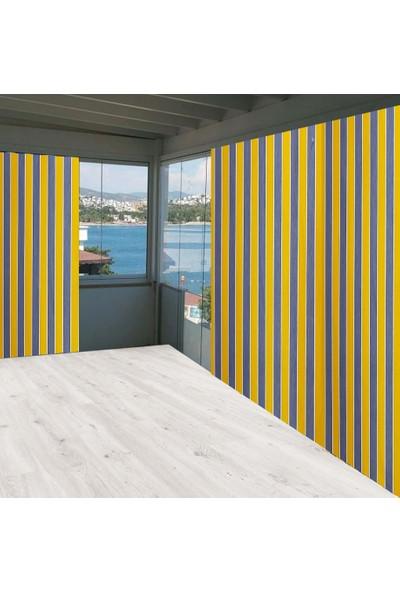 Ceylan Home Balkon Perdesi Brandası Sarı Gri Çizgili 800X250 cm