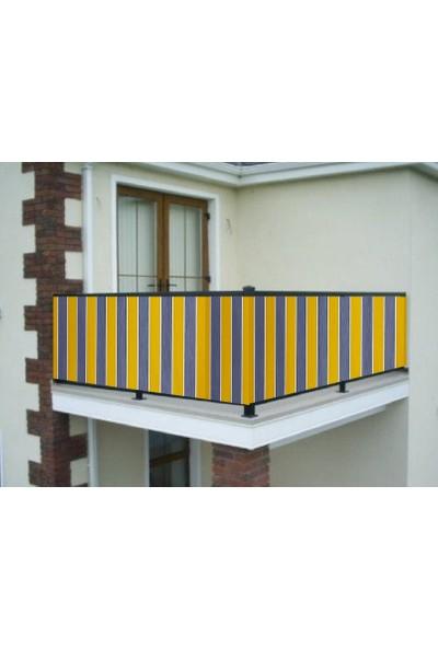 Ceylan Home Balkon Demiri Perdesi Kuş Gözü Metal Halka Sarı Gri Çizgili 450X80 cm