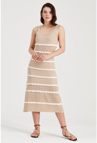 Sherin Kadın Bej Kare Yaka Fırfır Detaylı Uzun Yazlık Triko Elbise SWD4077BJ