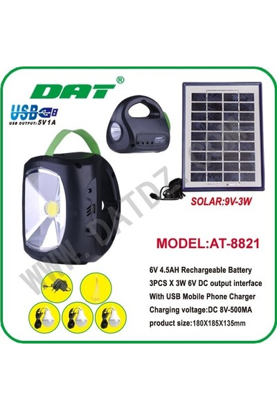 Dat Güneş Enerjili Solar Lamba 9V-3W Dc 8V-500MA Güneş Aydınlatmalı Solar Lamba Dat AT-8821