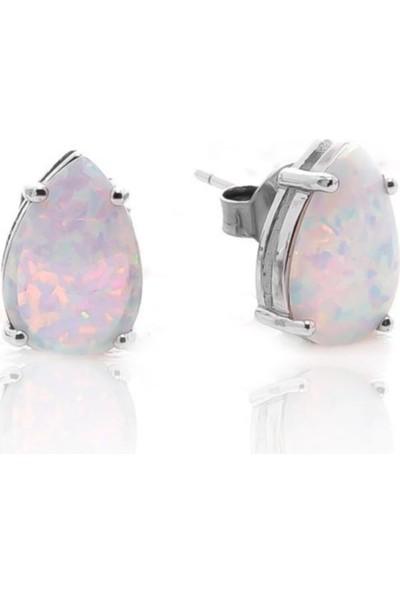 Glint Point Beyaz Damla Opal Taşlı Gümüş Küpe
