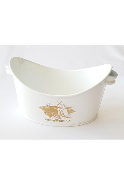 Bhç Beyaz Metal Gondol Ekmek Sepeti