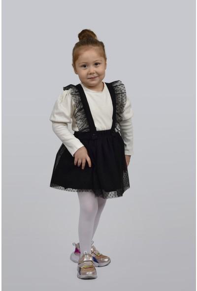Tuvogue Kız Çocuk Siyah Puantiye Tüllü Tütü Salopet Çift Kullanım Elbise Etek