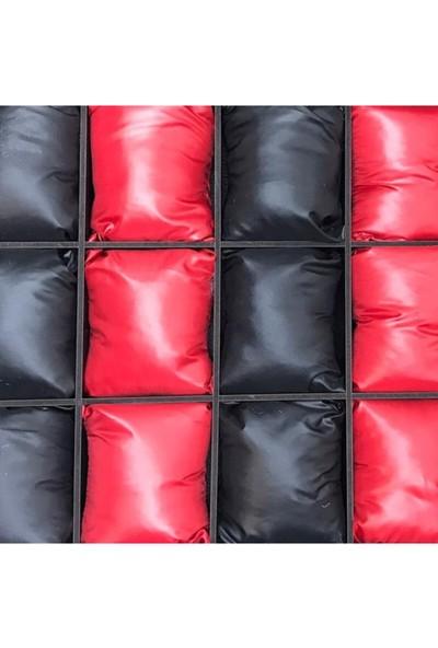 Sultans Siyah Deri Kaplama Siyah Kırmızı Yastıklı Ahşap Üzeri Cam Saat Kutusu 15'li