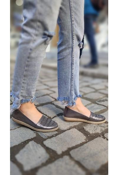 Janıe Kadın Babet Ayakkabı Platin
