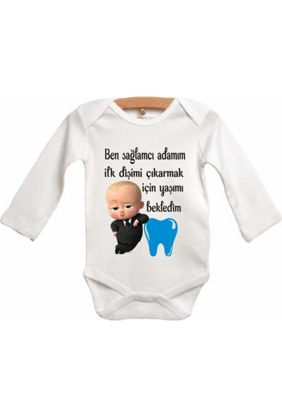 Limon Diş Zıbını Patron Bebekli Bebek Zıbın Body
