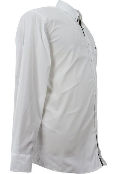 Bettino Büyük Beden Pamuklu Beyaz Spor Gömlek Uzun Kol