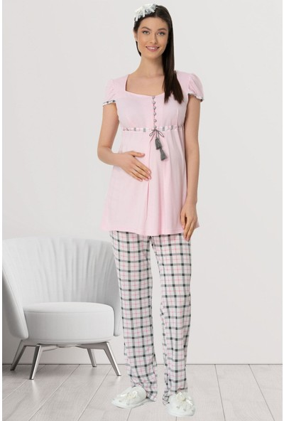 Mecit 5404 Pembe Ekoseli Spor Lohusa Pijama Takımı