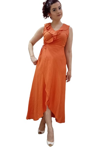 Batik Mercan Asimetrik Kolsuz Elbise