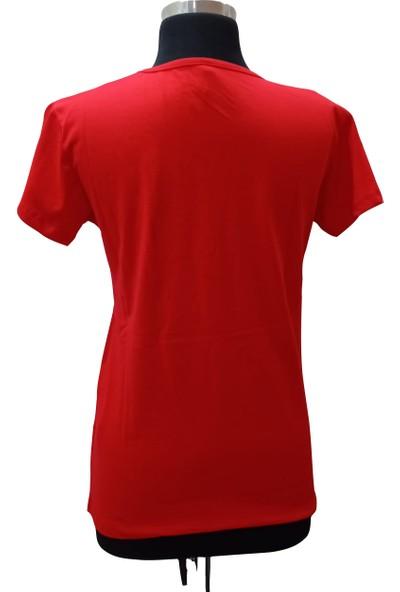 Zy Plus Kırmızı Baskılı Kısa Kollu T-Shirt