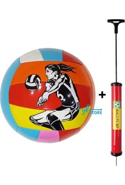 Dikişli Voleybol Topu ve Şişirme Pompası