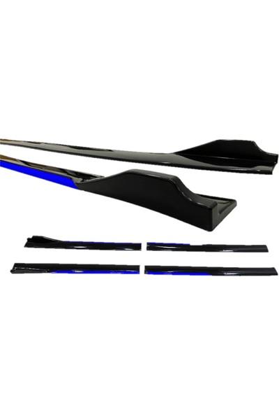 Bullcar Universal Kulaklı Yan Marşpiyel Siyah Mavi Şeritli