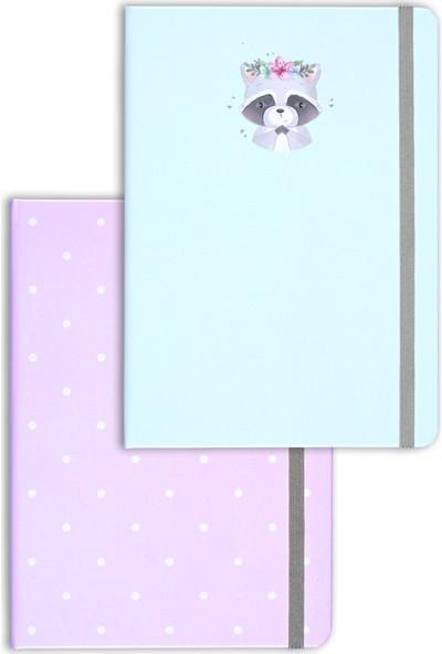 Matt Notebook A5 2'li Defter Seti 15 x 21 cm Noktalı Rakun