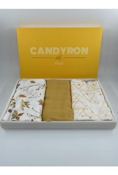 Candyron Müslin Örtü Seti - 3 Adet - Sarı