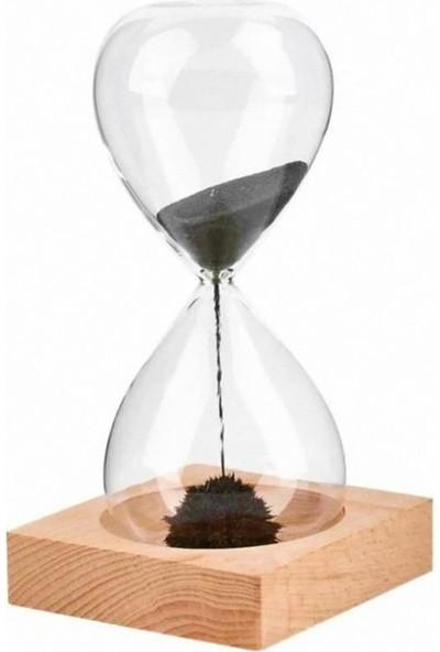 Cosmonis Kum Saati Mıknatıslı Kum Saati Ahşap Standlı Manyetik Kum Saati