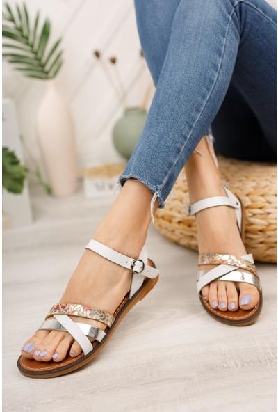 Muggo MGHELEN10 Deri Kadın Sandalet