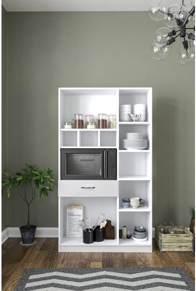 Aeka AE3080 Anka Beyaz Çok Amaçlı Mutfak Dolabı & Banyo Dolabı 6 Kapaklı 1 Çekmeceli Raflı