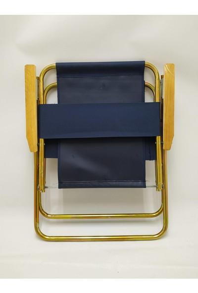 Hastunç Ahşap Kolçaklı Kamp ve Bahçe Sandalyeleri Sarı Kaplamalı