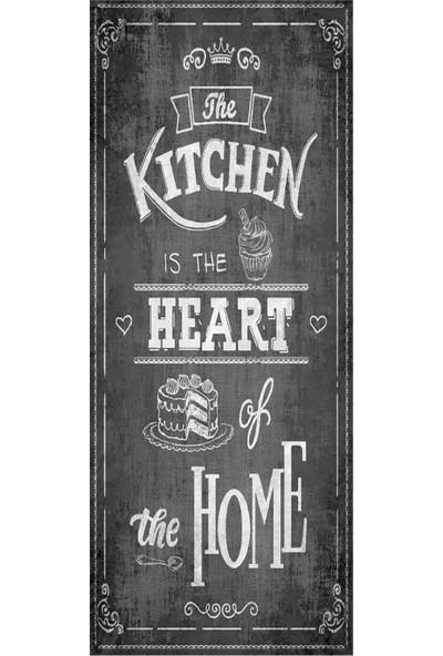 Wunderlin Gri Kalp Desenli Kaymaz Taban Makinede Yıkanabilir Yolluk Kalpli Mutfak Halısı