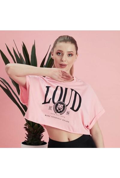 Noa Noa Loud Baskılı Crop T-Shirt