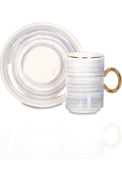 Acar Porselen 6'lı Kahve Fincan Takımı- MXG-010267 - Mavi - 6 Kişilik