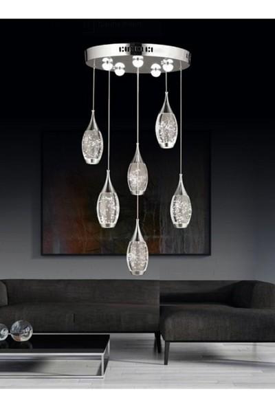 Burenze Modern Luxury LED Avize Altılı Krom BURENZE912