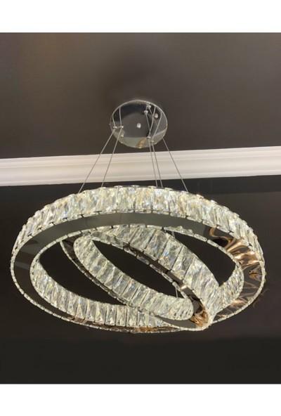Burenze Luxury Modern Kristal Taşlı Sarkıt LED Avize Krom Kumandalı 3 Renk BURENZE841