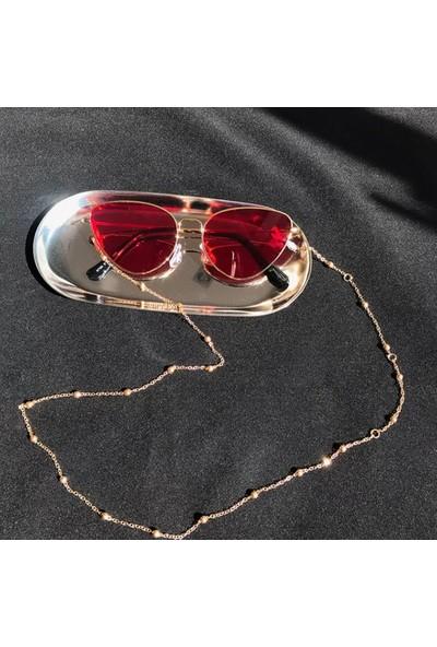 Platin Hediyelik Kadın Gold Toplu Zincir Güneş Gözlüğü Zinciri Gözlük Ipi Askısı Aksesuarı