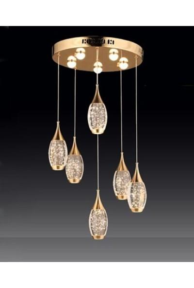 Burenze Modern Luxury LED Avize Altılı Gold Sarı BURENZE916