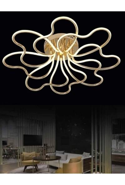 Burenze Luxury Modern Plafonyer LED Avize Gold Sarı Kademeli 3 Renk BURENZE867
