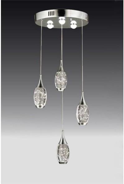 Burenze Modern Luxury LED Avize Dörtlü Krom BURENZE913