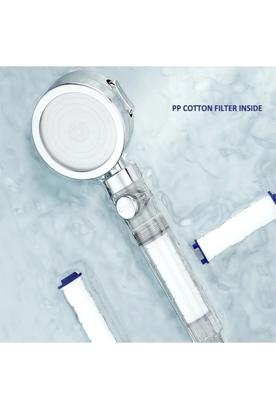 Kustar Filtreli Kireç Önleyici Aç-Kapa Özellikli 3 Fonksiyonlu Duş Başlığı