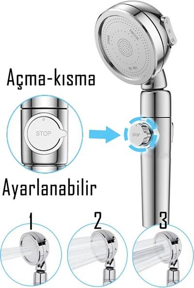 Kustar Su Seviyesi Ayarlanabilir Düğmeli Banyo Duş Başlığı