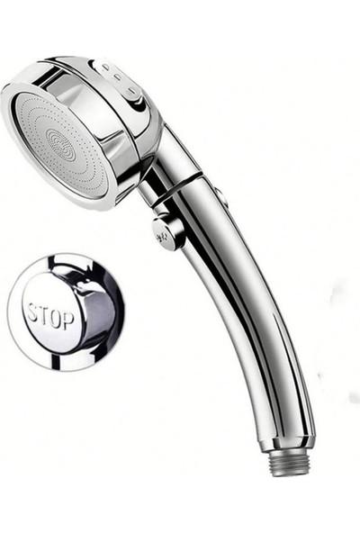3 Fonksiyonlu Stoplu Krom Duş Başlığı Krom L Mafsal Örgülü Hortum Duş Seti
