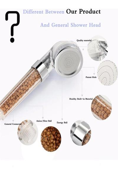 Kustar Filtreli ve Su Tasarruflu Arıtmalı Duş Başlığı Seti Boncuklu Başlık Hortum ve Mafsal Set