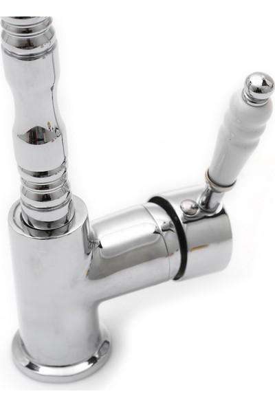 Kustar Krom Kaplama Verona Mutfak Evye Bataryası Porselen Kollu Garantili
