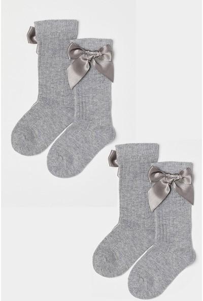 Mem Socks 2'li Fiyonklu Dizaltı Çocuk Çocuk Çorabı