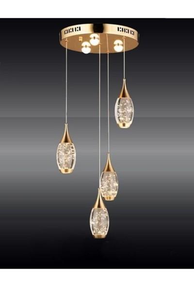 Burenze Modern Luxury LED Avize Dörtlü Gold Sarı Concept Ürün BURENZE915