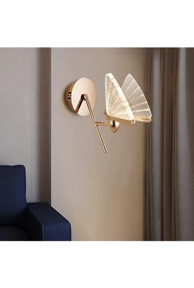 Burenze Rose Gold Sarı Elegance Modern Kelebek Tasarım Duvar LED Aplik BURENZE811