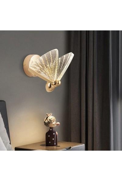 Burenze Elegance Modern Kelebek Tasarım Duvar LED Aplik Rose Gold Sarı Harika Görsel BURENZE812