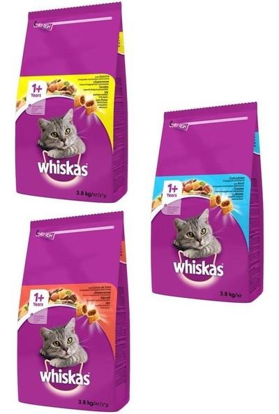 Whiskas Kuru Tavuk-Ton-Sığır Kedi Maması Karışık Paket 3,8 kg (3 Adet)