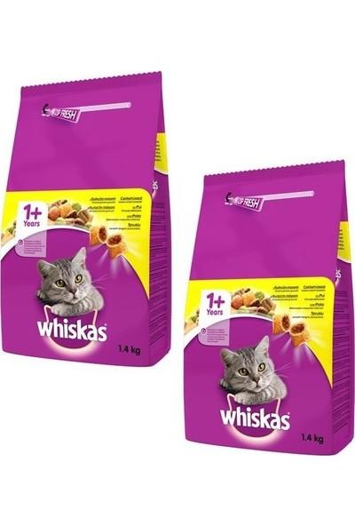 Whiskas Tavuk Etli ve Sebzeli Yetişkin Kedi Maması 1,4 kg (2 Adet)