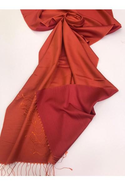 Silk Home Silk Home Ipek Şal Turuncu Kırmızı