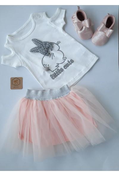 Beyaz Bebek Tavşanlı Etekli Bebek Takım