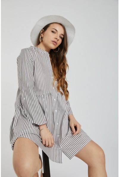 Sunst Club Kadın Çızgili Gömlek Elbise